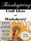 Thanksgiving Season- Craft Ideas and Writing Worksheets