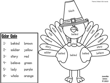Thanksgiving Second Grade Sight Word Roll and Color