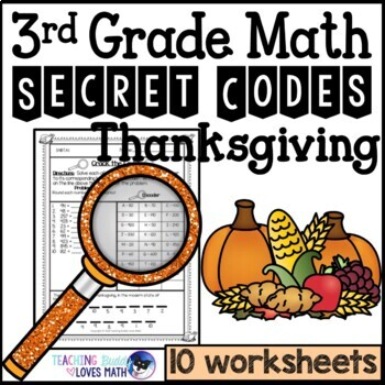 Thanksgiving Secret Code Math Worksheets 3rd Grade Common Core
