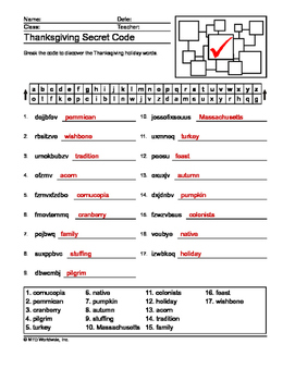 Thanksgiving Secret Code and Word Search Printables