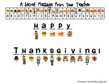 Thanksgiving Secret Message From Your Teacher (Decoding) November Free