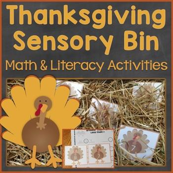 Thanksgiving Sensory Bin Math & Literacy Activities, Centers