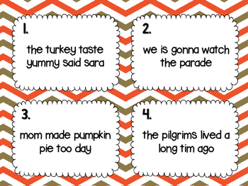 Thanksgiving Sentence Fix-in's