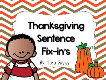 Thanksgiving Sentence Fix-in's