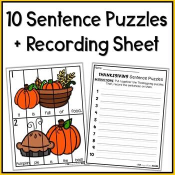 Thanksgiving Sentence Puzzles