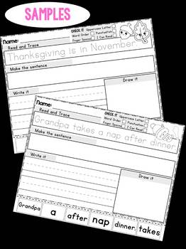 Thanksgiving Sentence Scramble Worksheets