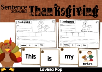 Thanksgiving Sentence Scramble with Cut and Paste Worksheets