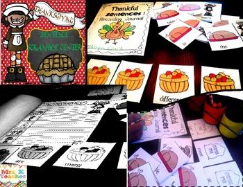 Thanksgiving Sentence Scramble(November Edition)