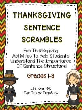 Thanksgiving Sentence Scrambles