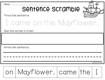 Thanksgiving Sentence Scrambles
