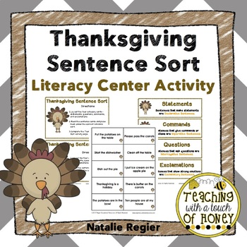 Thanksgiving Sentence Sort: Literacy Center Activity