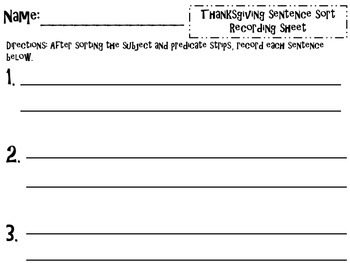 Thanksgiving Sentence Sort {subject & predicate}
