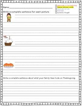 Thanksgiving Sentence Writing