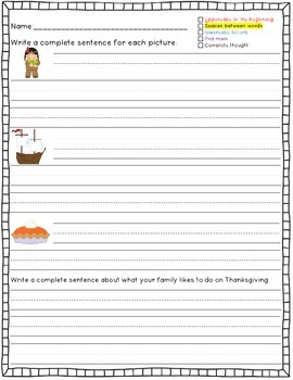 Thanksgiving Sentence Writing