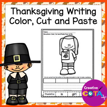 Thanksgiving Sentence Writing Color Cut and Paste
