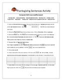 Thanksgiving Sentences...Computer Activity
