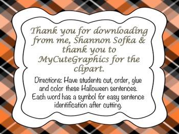 Thanksgiving Sentences- Cut, Glue & Color