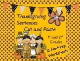 Thanksgiving Sentences Cut and Paste