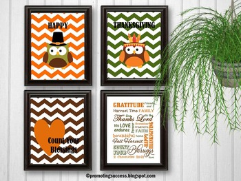 Religious Thanksgiving Posters, Owl Theme Classroom Decor BUNDLE