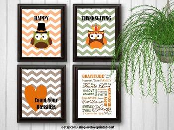 Religious Thanksgiving Posters, Owl Theme Classroom Decor, Christian School
