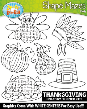 Thanksgiving Shaped Mazes Clipart Set {Zip-A-Dee-Doo-Dah Designs}
