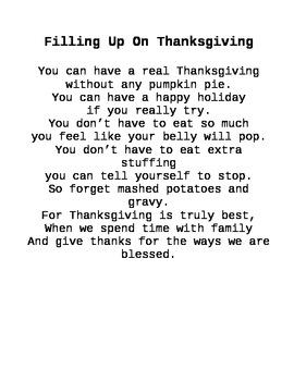 Thanksgiving Shared Reading Poem