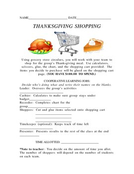 Thanksgiving Shopping Cooperatively