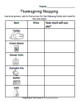 "Thanksgiving Shopping - Math worksheets and ***BONUS*** ""Next dollar"" task cards"