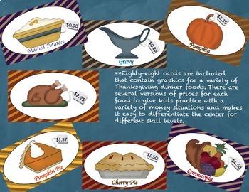 Thanksgiving Money Math Center