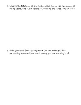 Thanksgiving Shopping Word Problems