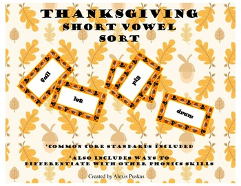 Thanksgiving Short Vowel Sort