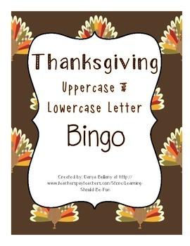 Thanksgiving Upper & Lowercase Bingo