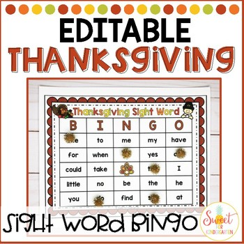 Thanksgiving Sight Word Bingo