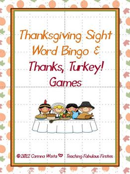 Thanksgiving Sight Word Bingo and Card Game