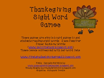 Thanksgiving Sight Word Board Games