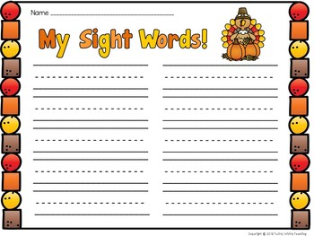 Thanksgiving Sight Word Game First 100 Fry Words
