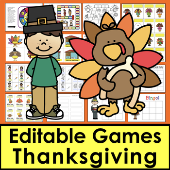 Thanksgiving Sight Word Games EDITABLE: Auto Fill by Typing Once!