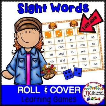 Thanksgiving Sight Word Game- Roll & Cover – Perky Turkeys! {EDITABLE}