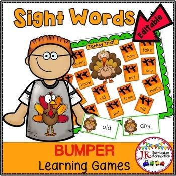 Sight Word Games - Thanksgiving Theme {EDITABLE}