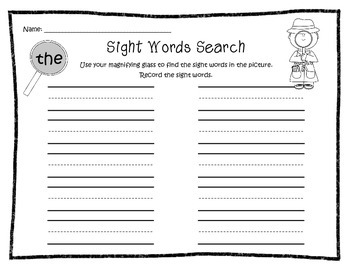 Thanksgiving Sight Word Magnifying Glass Search