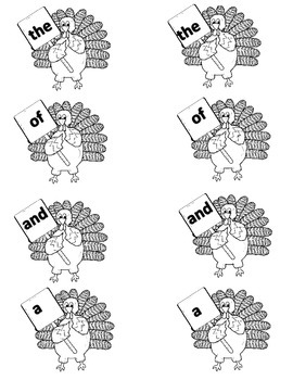 Thanksgiving Sight Word Matching