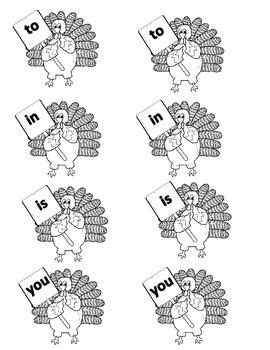 Thanksgiving Sight Word Matching