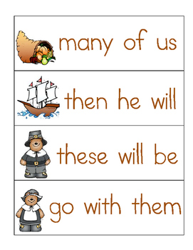 Thanksgiving Sight Word Phrases