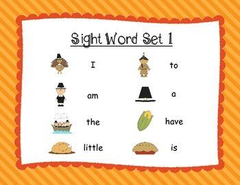 Thanksgiving Sight Word QR Codes