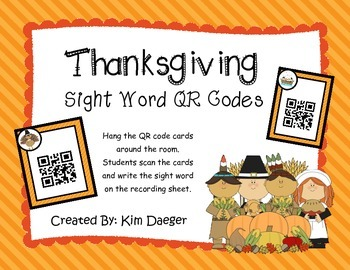 Thanksgiving Sight Word QR Codes