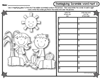 Thanksgiving Sight Word Scramble Word Hunt