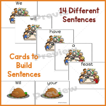 Thanksgiving Sight Word Scrambled Sentences K-2