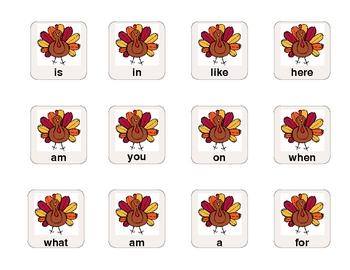 Thanksgiving Sight Word Sentences