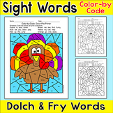 Thanksgiving Turkey Color by Sight Words Activity