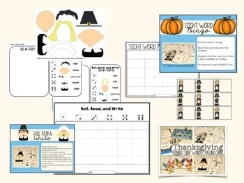 THANKSGIVING ACTIVITIES SIGHT WORD GAMES EDITABLE
